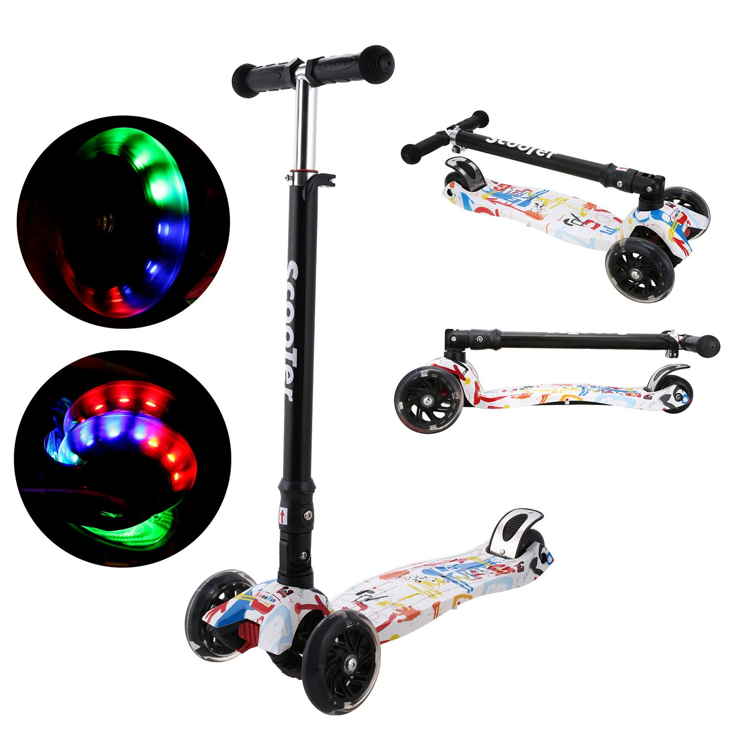 Ancheer New Kick Scooter For Kids 3 Wheel Scooter 4 Adjustable Height Kids Scooter LED Light Flashing PU Wheels Christmas Gift For Child Girl Boy 2018 MG1