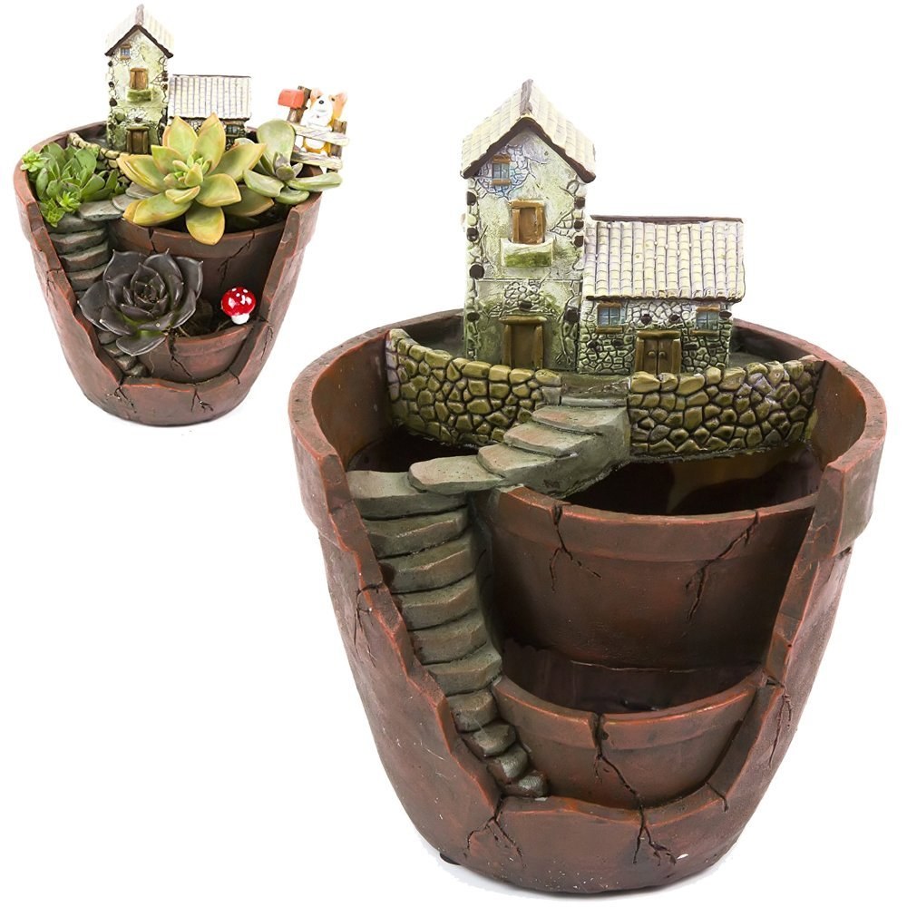Tiny Creative Succulent Pot Planter Flower Plants DIY Container Decorated with Mini Hanging Fairy Garden and Sweet House for Holiday Decoration and Gift