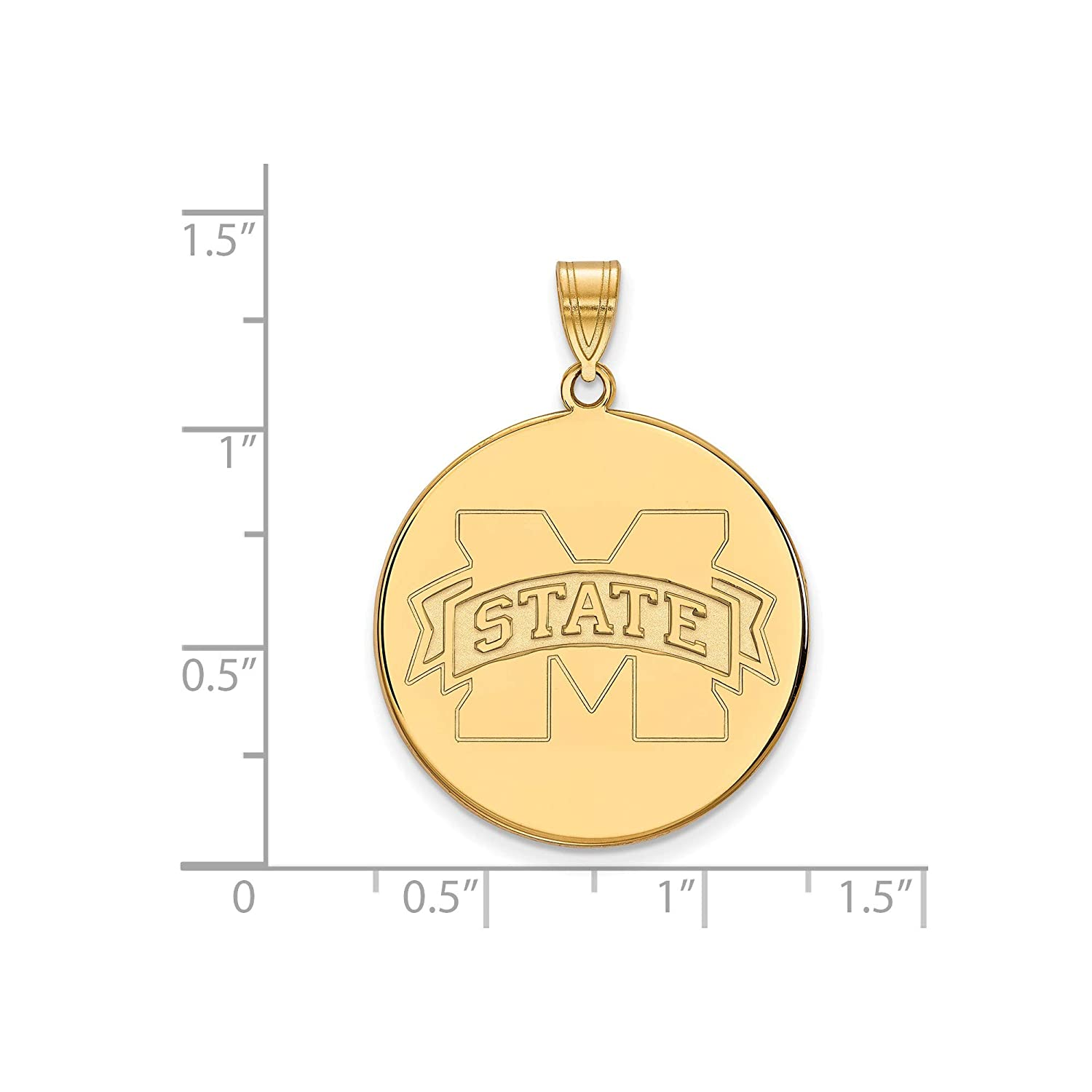Kira Riley Gold Plated Mississippi State University XL Disc Pendant for Chains and Necklaces