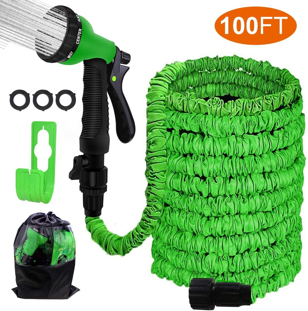 "Agichose 100FT Garden Hose Reel Wall Mount Expandable 3 Times TPE Super-Strength High Pressure Flexible Water Hose with 3/4"" Solid Fittings Comes with Free Hose Hook"