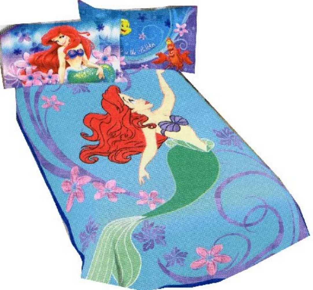 Disney Princess Ariel the Little Mermaid Blanket Micro Raschel Throw 62 x 90 Twin / Full Size by Franco Mfg   B00CXVIPE2