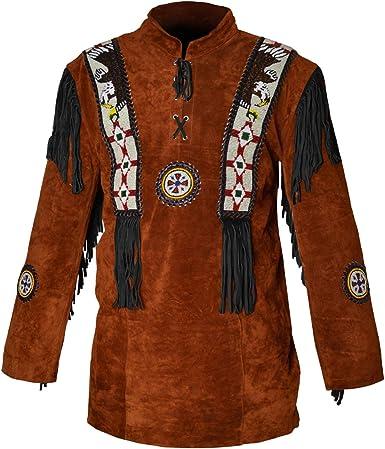 HLS Western Cowboy - Camisa de Piel de Ante con Flecos para ...