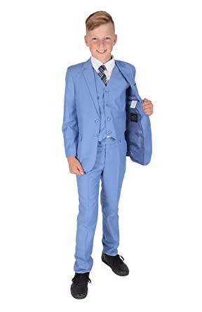Amazon.com: Cinda 5 Piece Light Blue Boy Suits Boys Wedding Suit ...