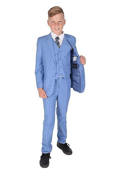 Amazon.com: Cinda 5 Piece Light Blue Boy Suits Boys Wedding ...