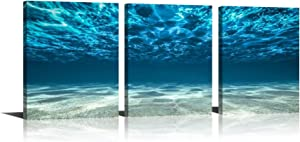 YPY 3 Panel Ocean Bottom Canvas Wall Art Blue Sea Sand Picture Print Poster Wall Decor Artworks Bathroom Living room Decorations (dark blue, 12x16in)