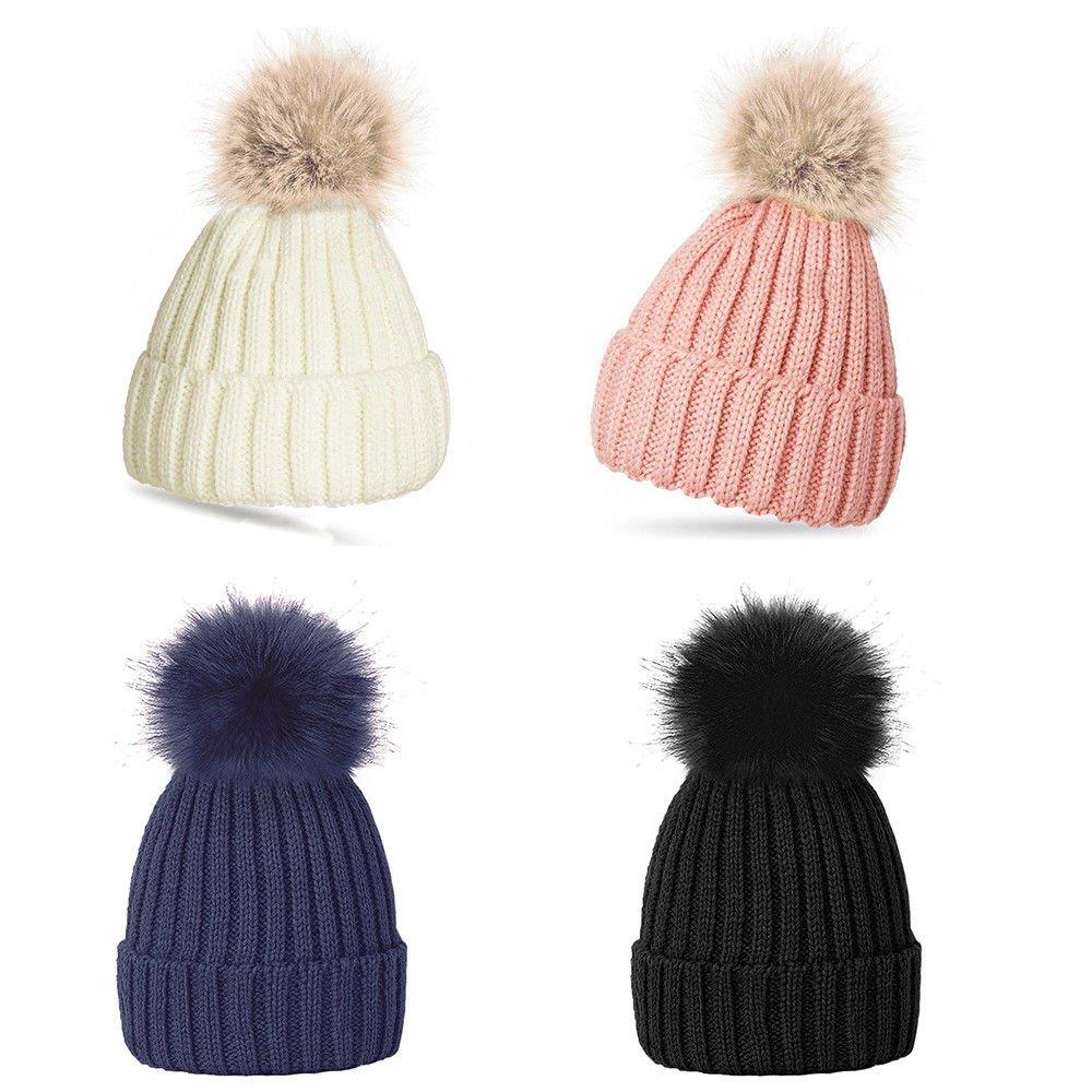 Gorro de lana para mujeres con pompones cómodo y caliente para el invierno azul azul