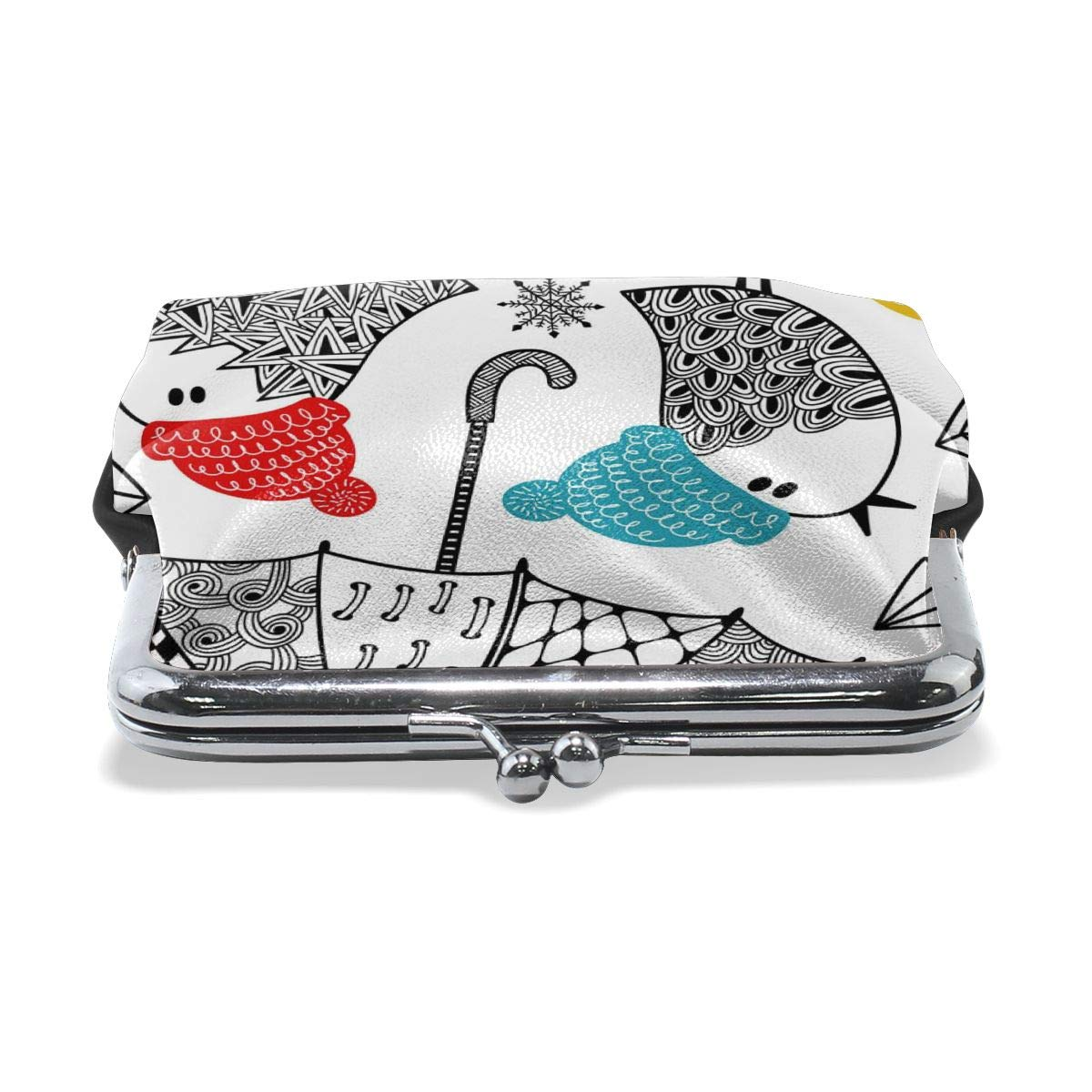 Architd Customized Cute Retro Coin Purse Girl Kiss And Buckle Change Purse Ladys HandbagBirds With Umbrellas And Umbrellas In Winter Personality Metal Lock Purse
