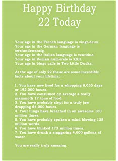 Age 22 Body Facts Birthday Card
