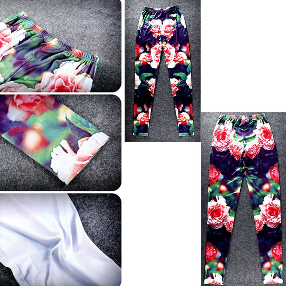Creative Printed Leggings Leisure Tights Trousers Thin Cotton Pants Flowers