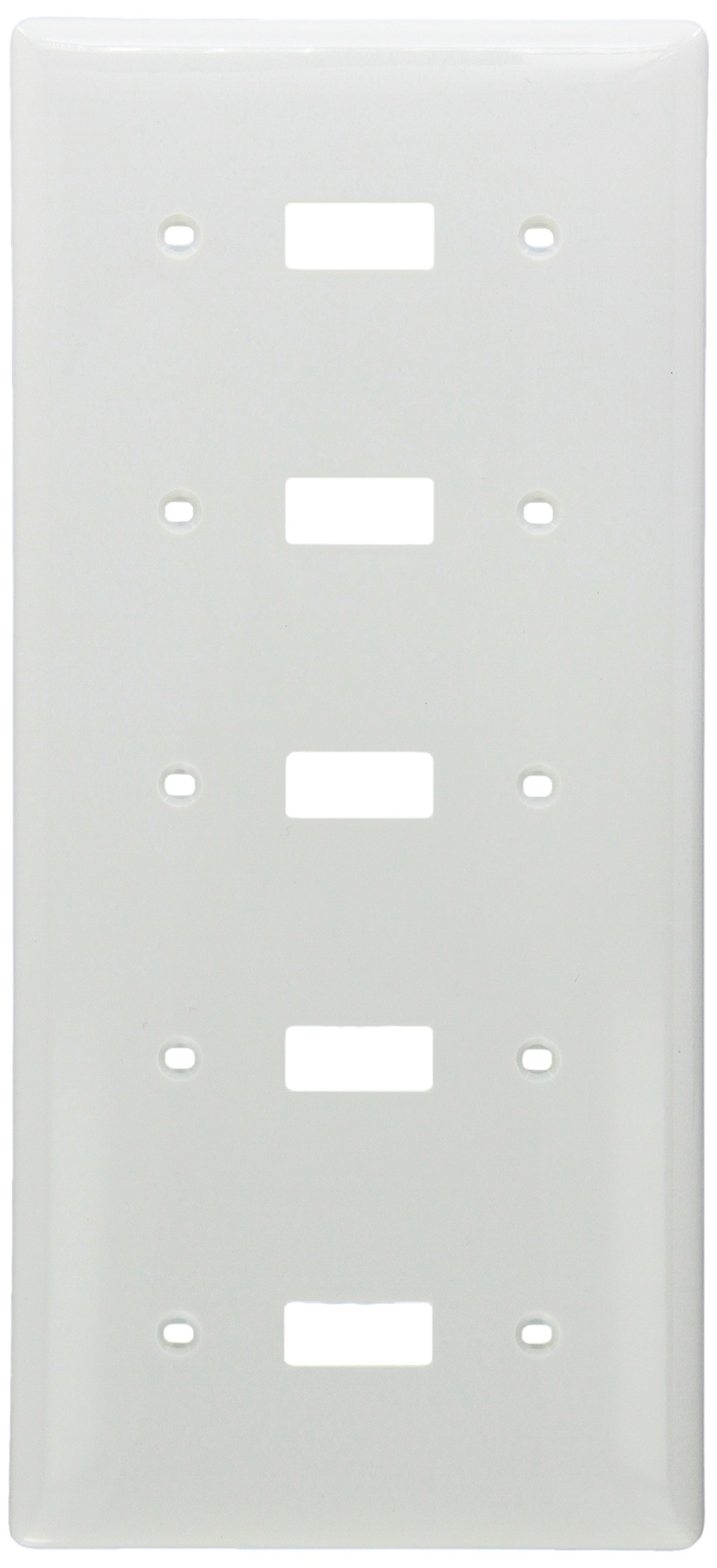 Wallplate, Nylon, Standard Size, 5-Gang, 5) Toggle, White