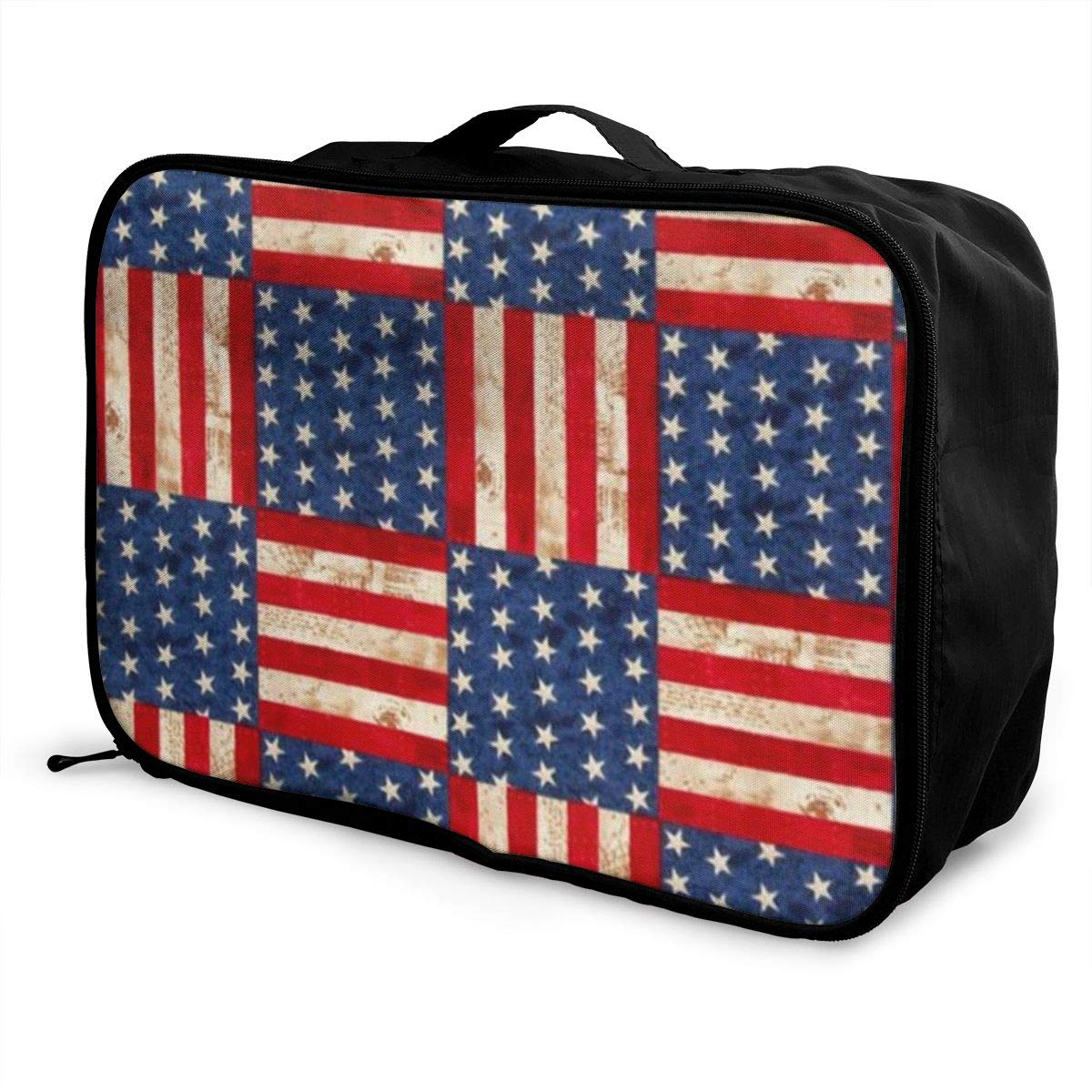 ADGAI Creative American Flag Canvas Travel Weekender Bag,Fashion Custom Lightweight Large Capacity Portable Luggage Bag,Suitcase Trolley Bag