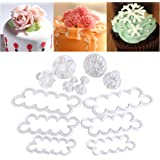 OUNONA Fondant Tools   12 Pieces Assorted Modeling Tools and Plunger Cutters   Cake Mold Decorating Tools   Rose Carnation Snow Flower DIY Cake Decoration