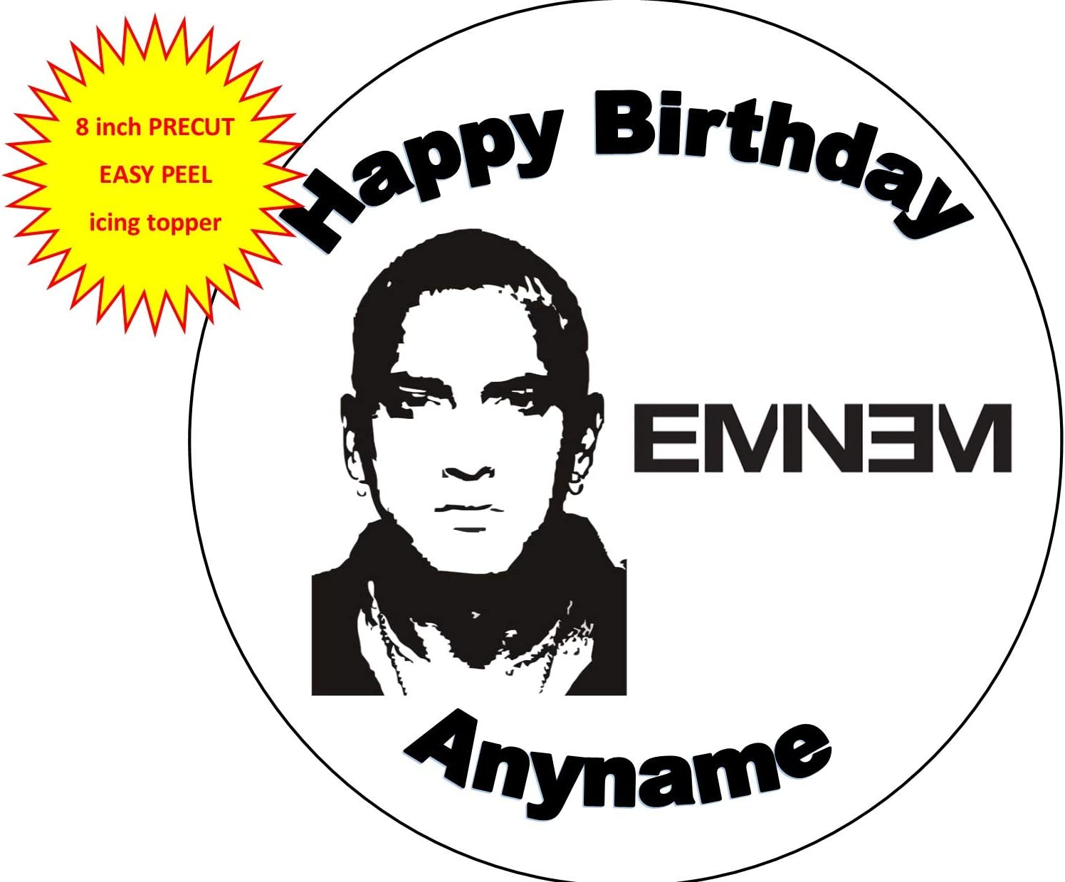 Eminem Design Icing or Wafer paper Toppers for large Cakes VARIOUS SIZES