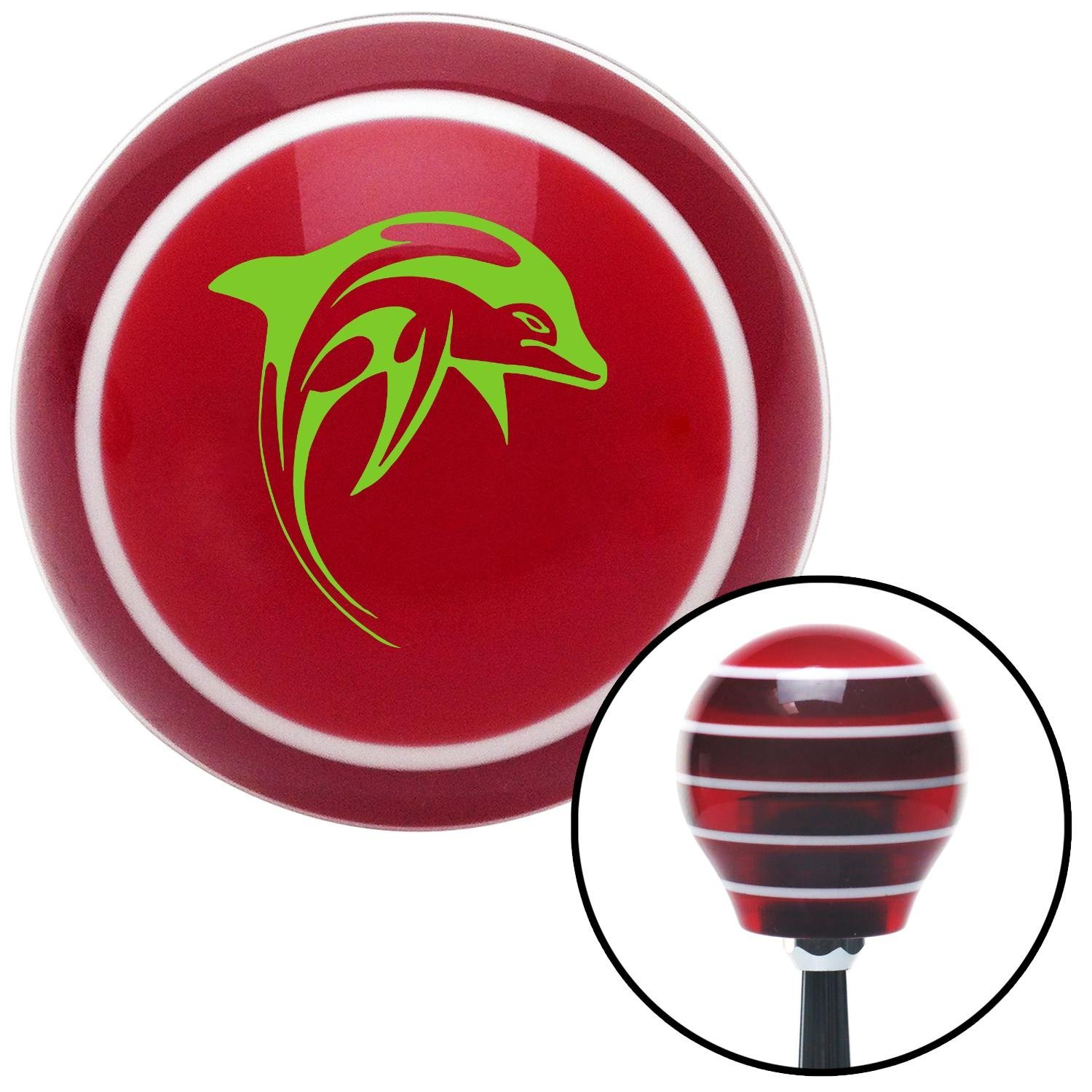 American Shifter 115032 Red Stripe Shift Knob with M16 x 1.5 Insert Green Marine Dolphin #2