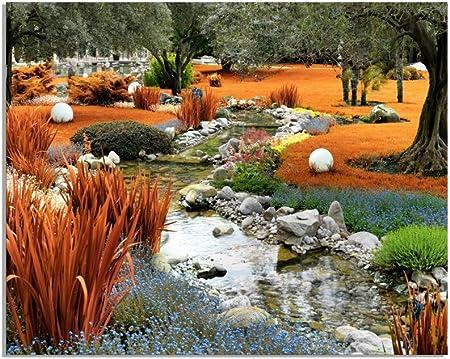 deinebilder24 - Cuadro XXL de jardín japonés con estanque en otoño sobre lienzo y bastidor. Mejor calidad, hecho a mano en Alemania., lona, 70 x 110 cm: Amazon.es: Amazon.es