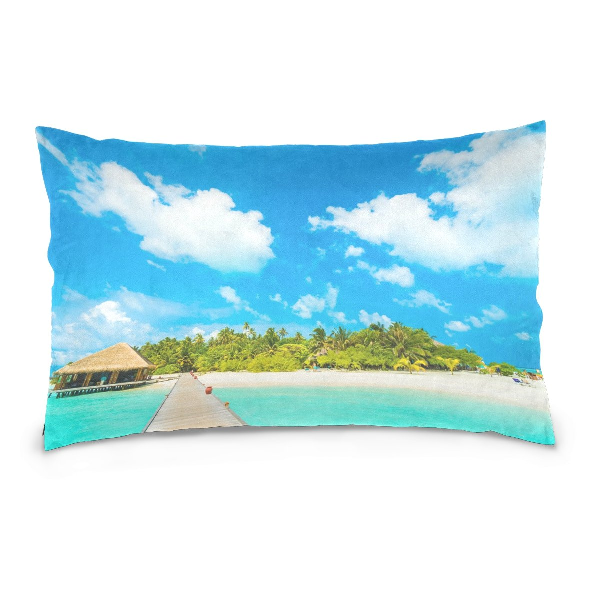 ALAZA Beautiful Tropical Maldives Resort Hotel Cotton Lint Pillow Case,Double-sided Printing Home Decor Pillowcase Size 16''x24'',for Bedroom Women Girl Boy