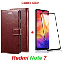 Goelectro Redmi Note 7 / Note7 (Combo Offer) Leather Dairy Flip Case Stand with Magnetic Closure & Card Holder Cover + 6D Curved Tempered Glass Screen Protector (Brown Flip)