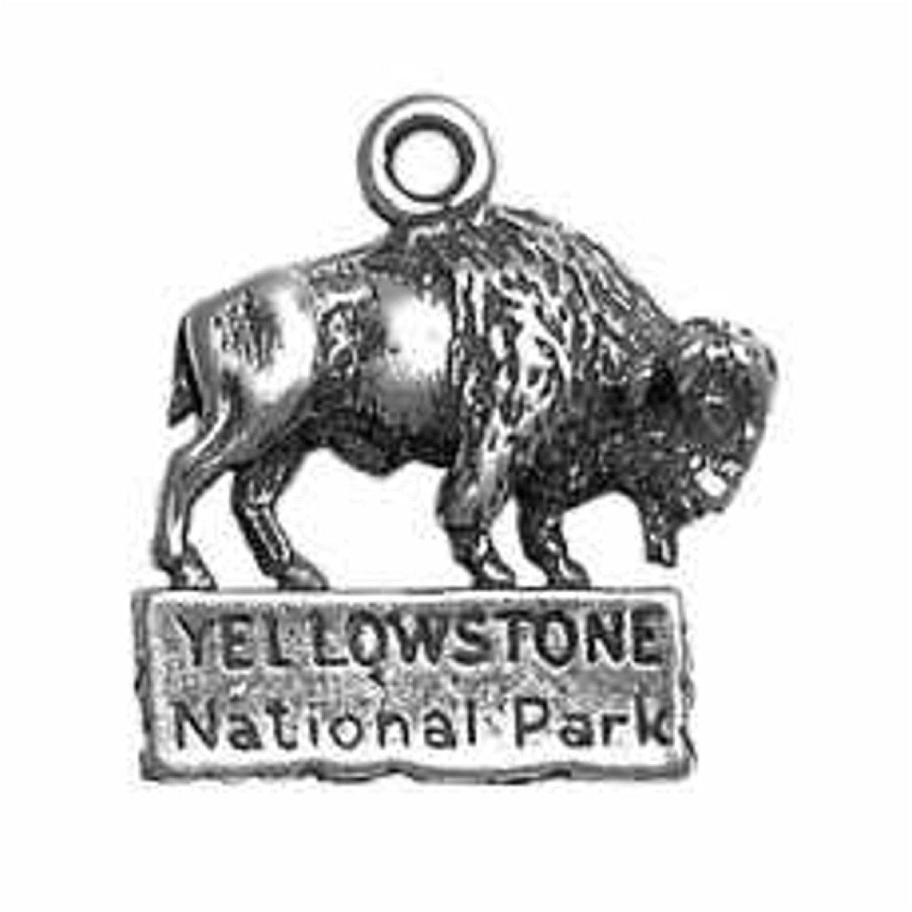 Sterling Silver Girls .8mm Box Chain Buffalo Yellowstone National Park Pendant Necklace