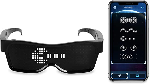 Animation Costumes Festivals Drawings Parties Fun Customizable Bluetooth LED Glasses APP Control for Raves Sports Display Text Messages Birthday Flashing EDM