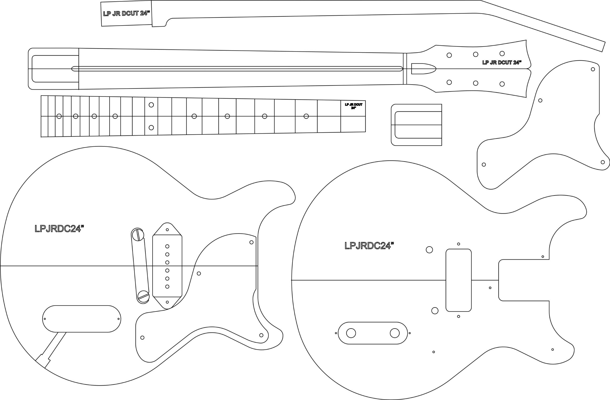Electric Guitar Layout Template - LP JR DC 24'' Scale