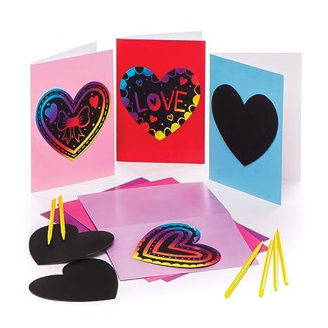 Baker Ross Tarjetas de felicitación con diseño de corazón para rascar (Paquete de 6) Manualidades para niños para el Día de la Madre y San Valentín: Amazon.es: Industria, empresas y ciencia