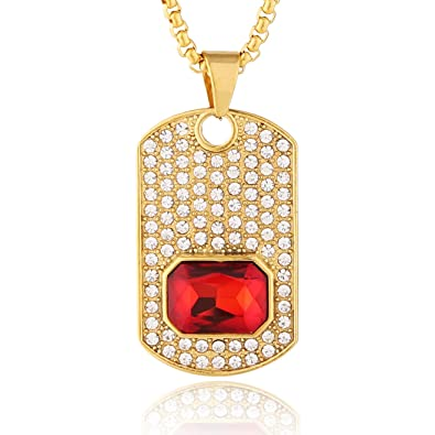 768ec867b0471 HZMAN Mens 18k Gold Plated Iced Out CZ Stainless Steel Red Ruby Pendant Hip  Hop 24
