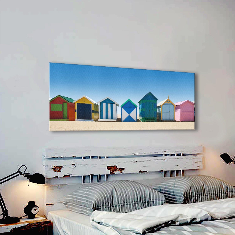 c490p lienzo de enmarcado - en la pared - Scenic landscape - 100% garantizada - azul - diseño de casetas de playa vida y decoración para el hogar con fácil ...