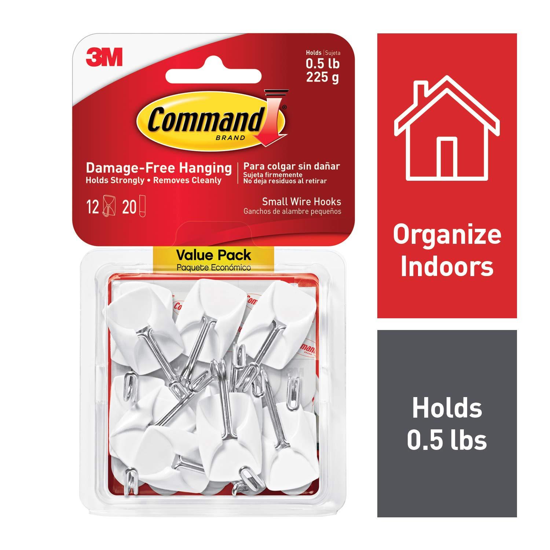 9 Hooks, White 17067-VP 17067-9ES Command Wire Hooks Decorate Damage Free