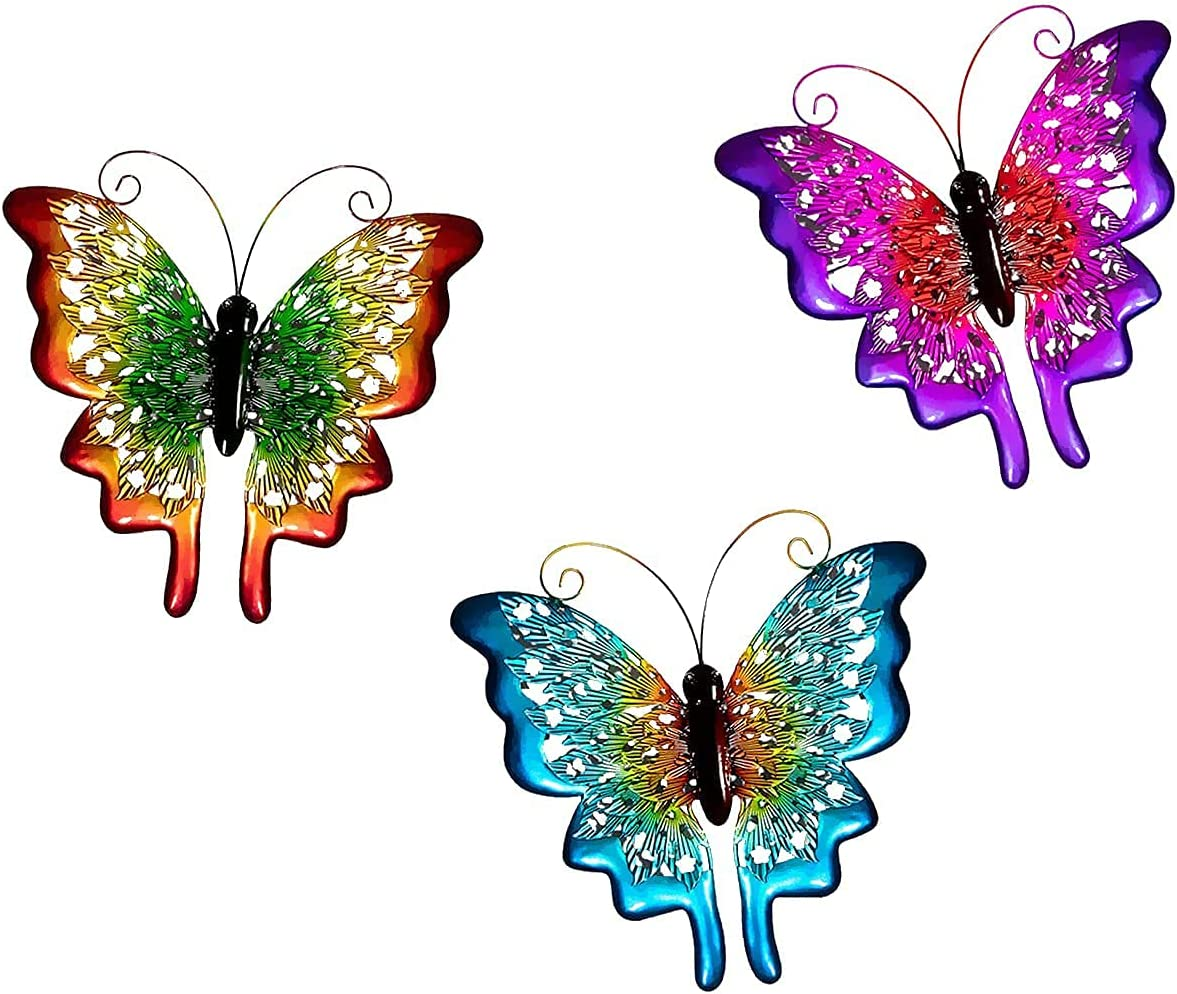 Chisheen Metal Butterfly Wall Decor, 3D Wall Art Sculptures Hanging for Backyard Garden, Fence, Patio, Home, Living Room, Handmade Gift for Indoor Outdoor (3 Pack, Red, Blue, Purple)