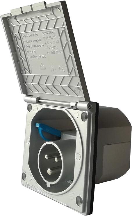 Cee Steckdose Für Wohnmobil Caravan Bzw Wohnwagen Farbe Silber Einbaustecker Einbausteckdose Stromanschluss Einspeisungsstecker Einspeisungssteckdose Anschlussdose Auto