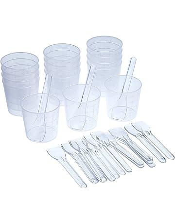 Shappy - 15 vasos de plástico graduados de 60 ml y 20 aplicadores/palos de