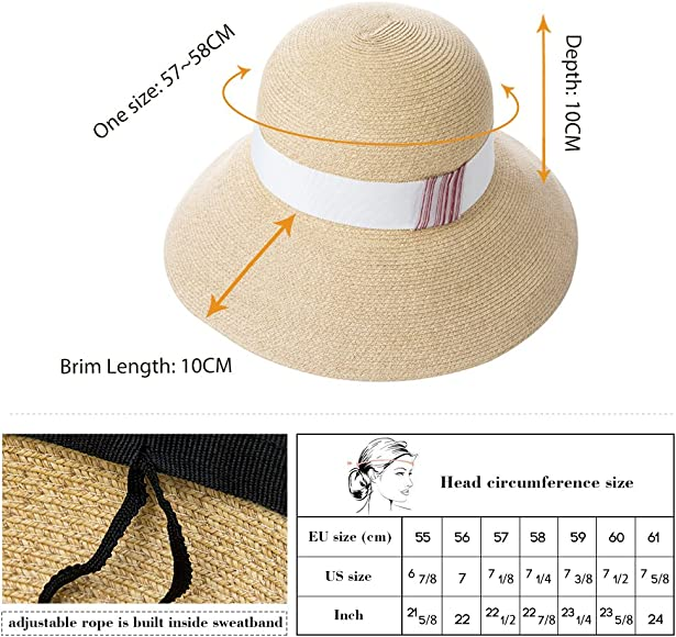 Comhats Sun Hats for Women Floppy Foldable UV Protection Wide Brim Panama Cloche Straw Beach Sunhat Fashionable Adjustable Cruise Accessories Beige S//M 56CM