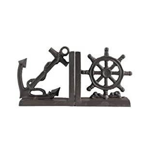 Danya B. ZI08303 Nautical/Coastal Home Decor - 2-Piece Metal Bookend Set with Anchor and Captain's Wheel