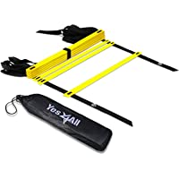 Yes4All Agility Ladder with Carry Bag Footwork Ladder - Multi Choices: 8, 12, 20 Rung and Combo with Agility Cones