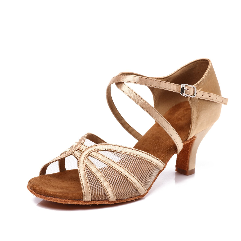 CLEECLI Women's Ballroom Dance Shoes Latin Salsa Dancing Shoes Cross Strap 2.5'' Heel ZB04(8.5,Gold)