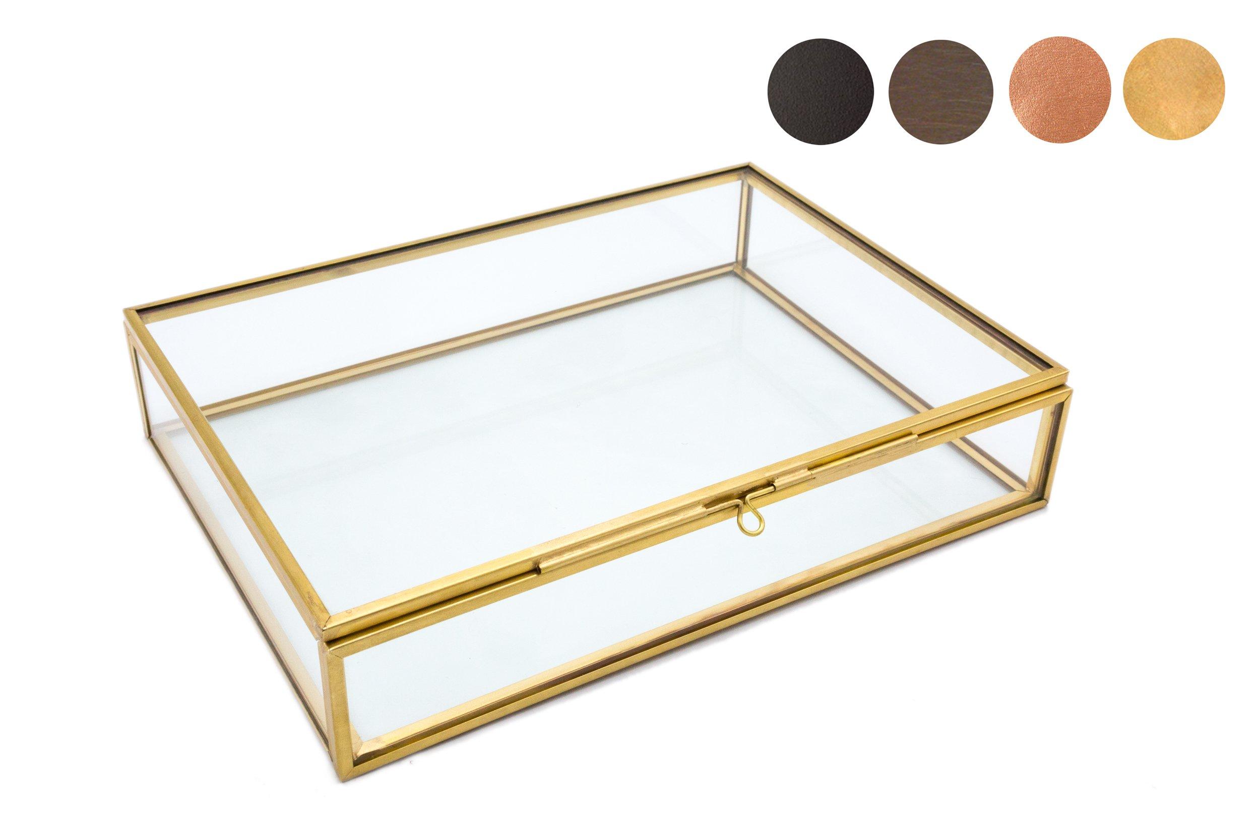 Photographer Boxes 5x7 Glass Photo Box, Proof Box, Shadow Box, Card Box, Jewelry Box, Gold Glass Box