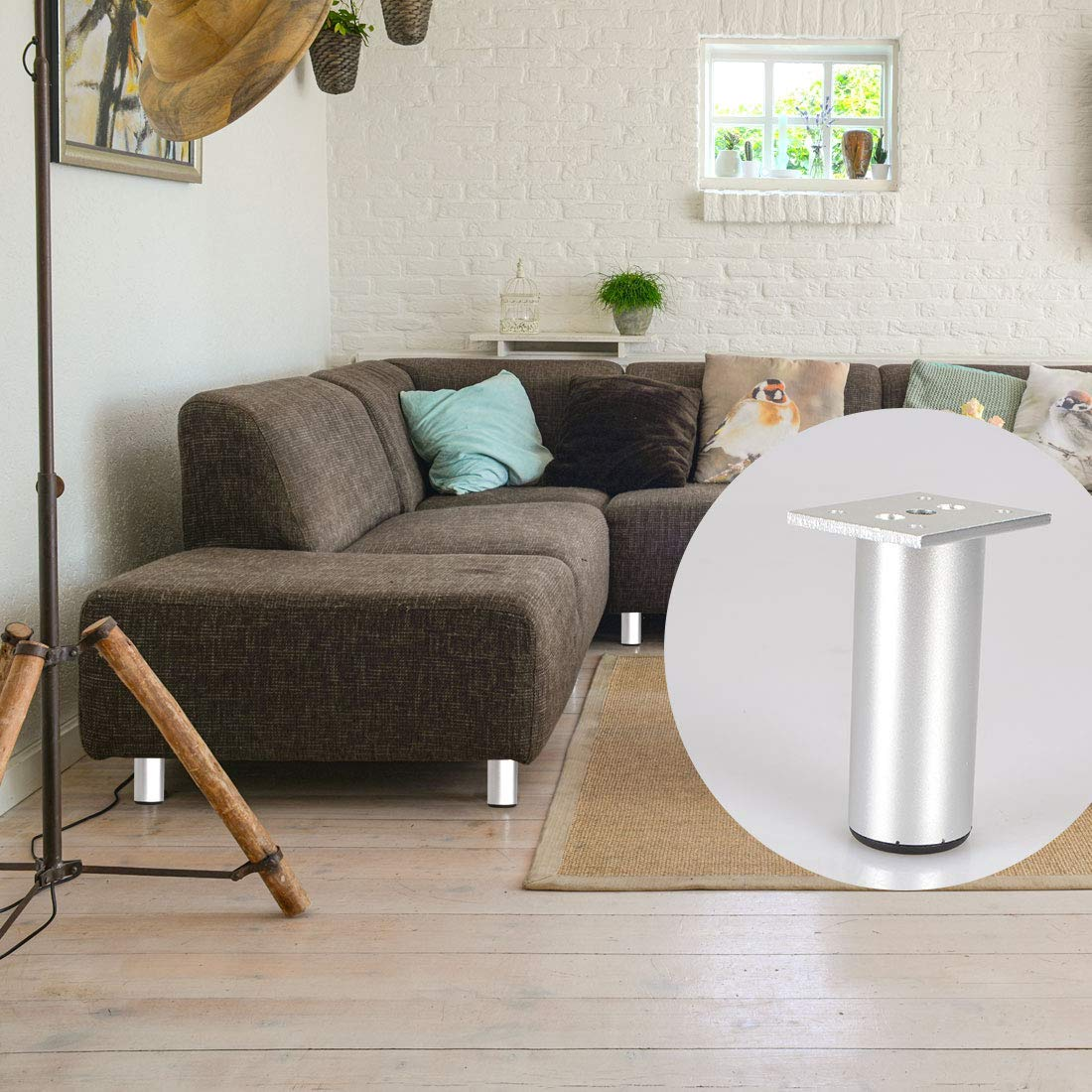 La Vane Set of 4 Aluminium Plinth Adjustable Cabinet Feet Matte Black for Cupboard Sofa Kitchen Couch Bookcase 30cm Furniture Legs 12 inch