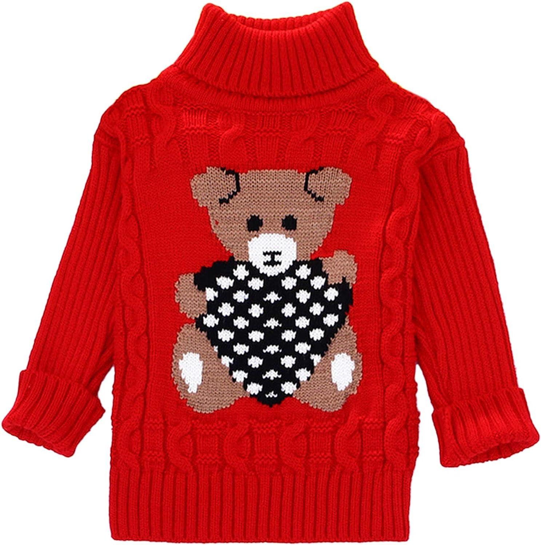 Evelin LEE Kids Bear Twist Long Sleeve Turtleneck Winter Warm Knit Christmas Sweater