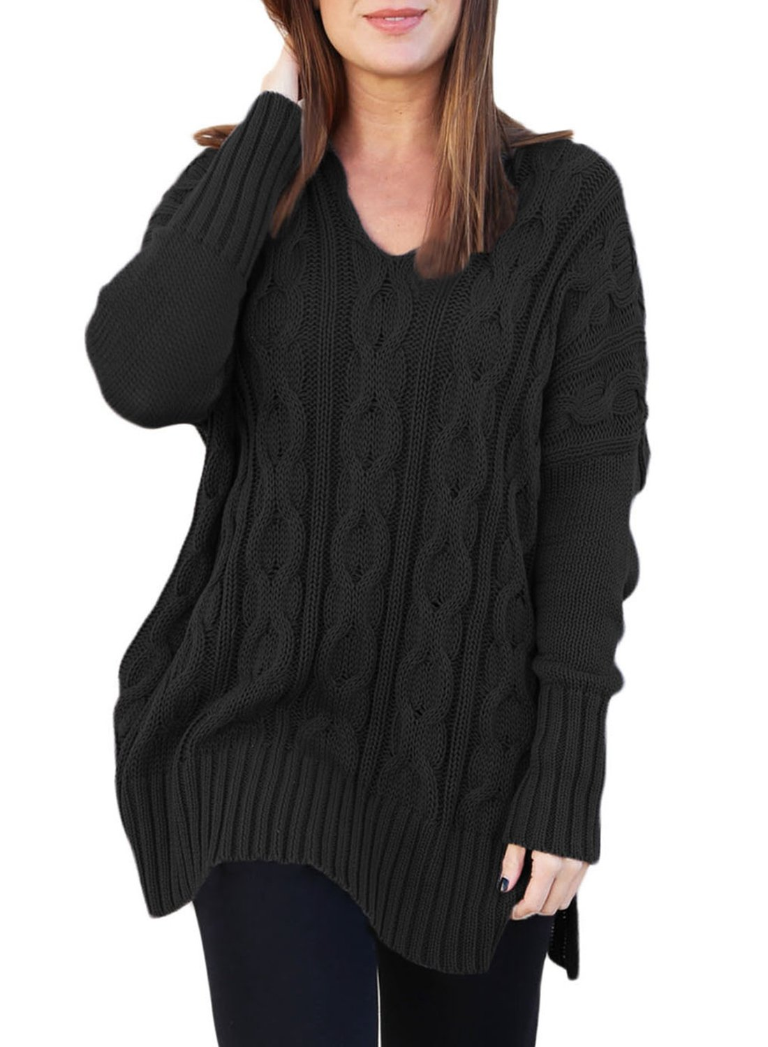 Women's Long Sleeve V Neck Casual Loose High Low Knit Pullover Sweaters Oversized Blouse Tops Jumper Solid Black Plus Size XXL 18 20