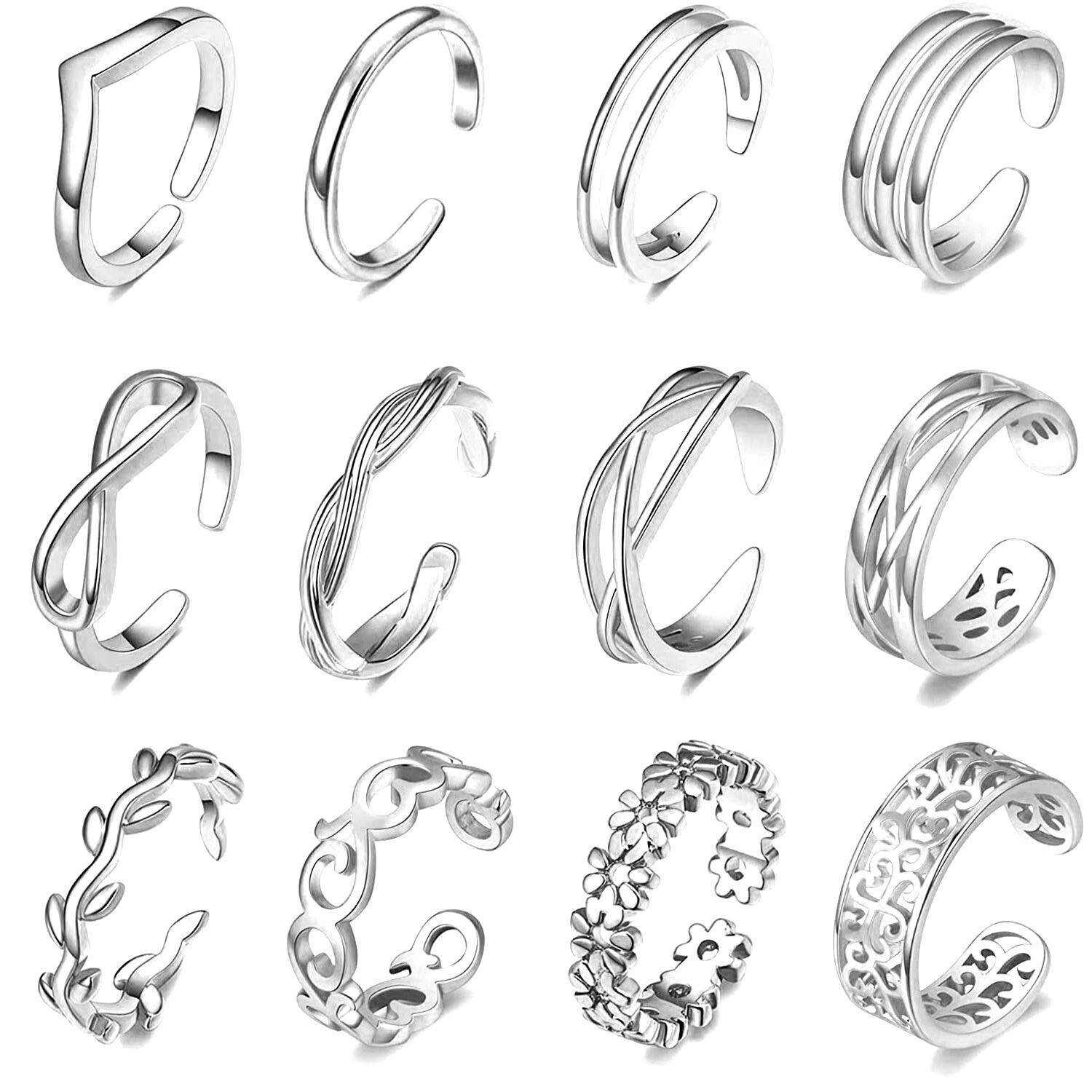 FUNEIA 12Pcs Adjustable Toe Ring for Women Flower Knot Tail Band Open Toe Rings Set Hawaiian Foot Jewelry