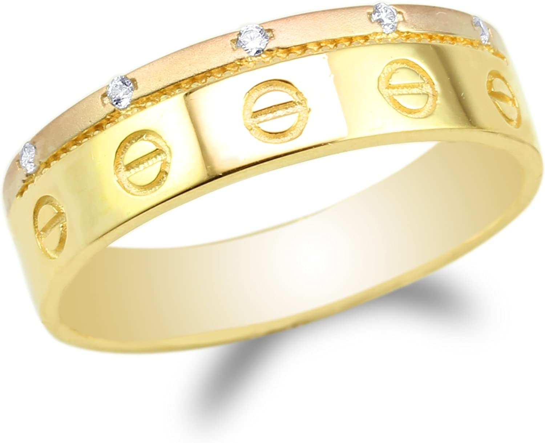 Mens 14K Yellow Gold Two Tone Symbol Wedding Band Ring Size 7-12