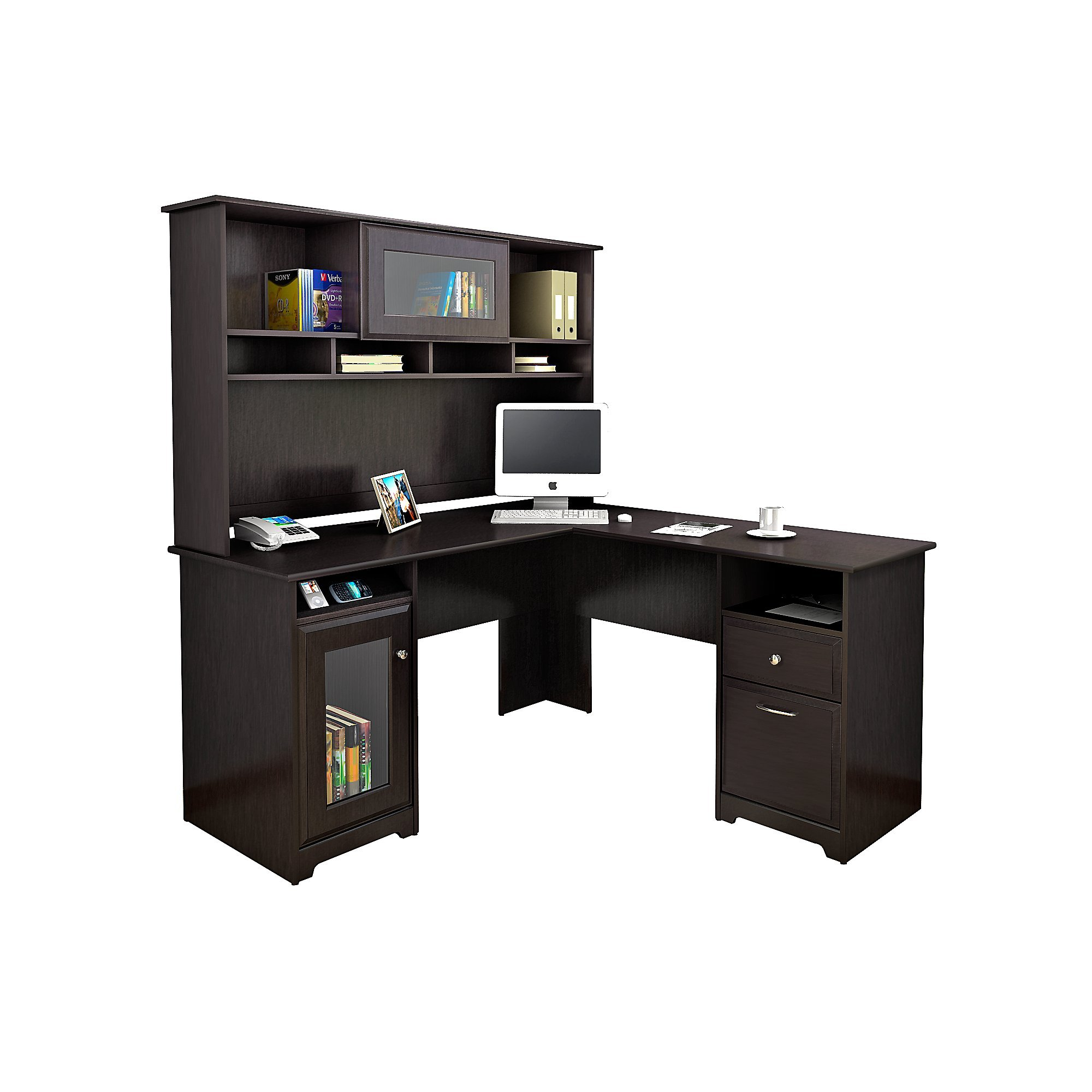 Bush Furniture Cabot L Shaped Desk with Hutch in Espresso Oak by Bush Furniture