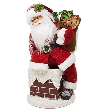 Immagini Natale Movimento.Joy Christmas Babbo Natale Con Musica E Movimento 45 Cm Sul Camino Babbo Natale Che Si Muove