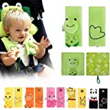 INCHANT Cartoon Animal Soft Harness Baby Car Seat belt Strap Covers Shoulder Pads UNIVERSAL Reversible Kids Infants Stroller Pushchair Belt Covers Comfortable,Double Layers (Green Frog)