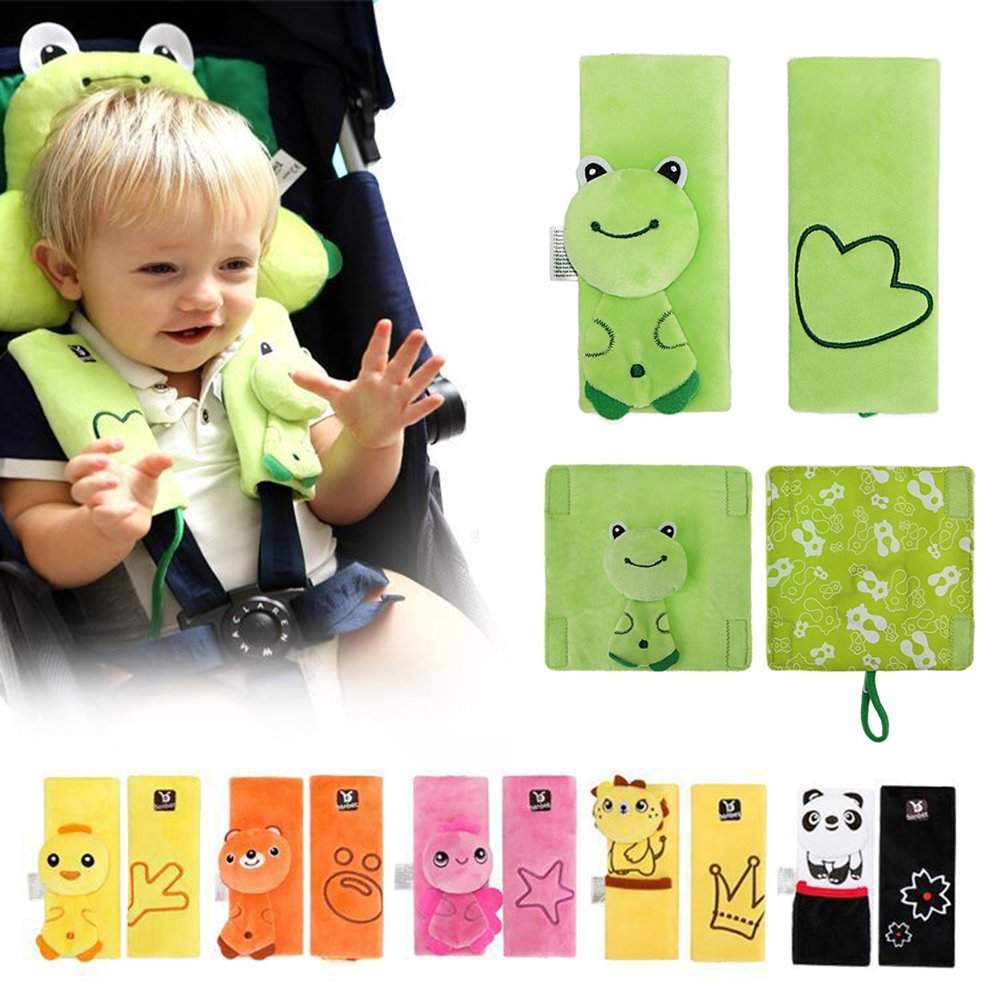 INCHANT Cartoon Animal Soft Harness Seat belt Strap Covers pads UNIVERSAL Reversible Strap Covers Infant Car Seat Strap Covers, Baby Seat Belt Covers, Stroller Accessories, Head Support, Shoulder Pads(Green Frog - 2pcs) Ecreate T002-a