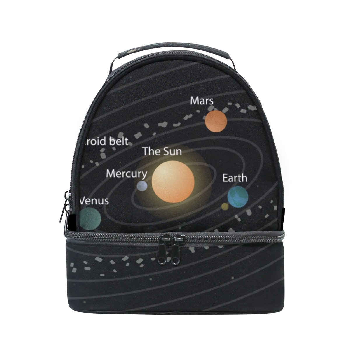 LORVIES Educational Solar System Lunch Bag Dual Deck Insulated Lunch Cooler Tote Bag Adjustable Strap Handle for Women Men Teens Boys Girls