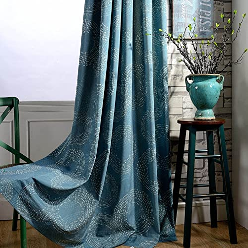 2 Panel Teal Blue Curtains Geometric Circle – Anady Linen Cotton Short Curtains Grommet Drapes 63 inch Long Customized Available