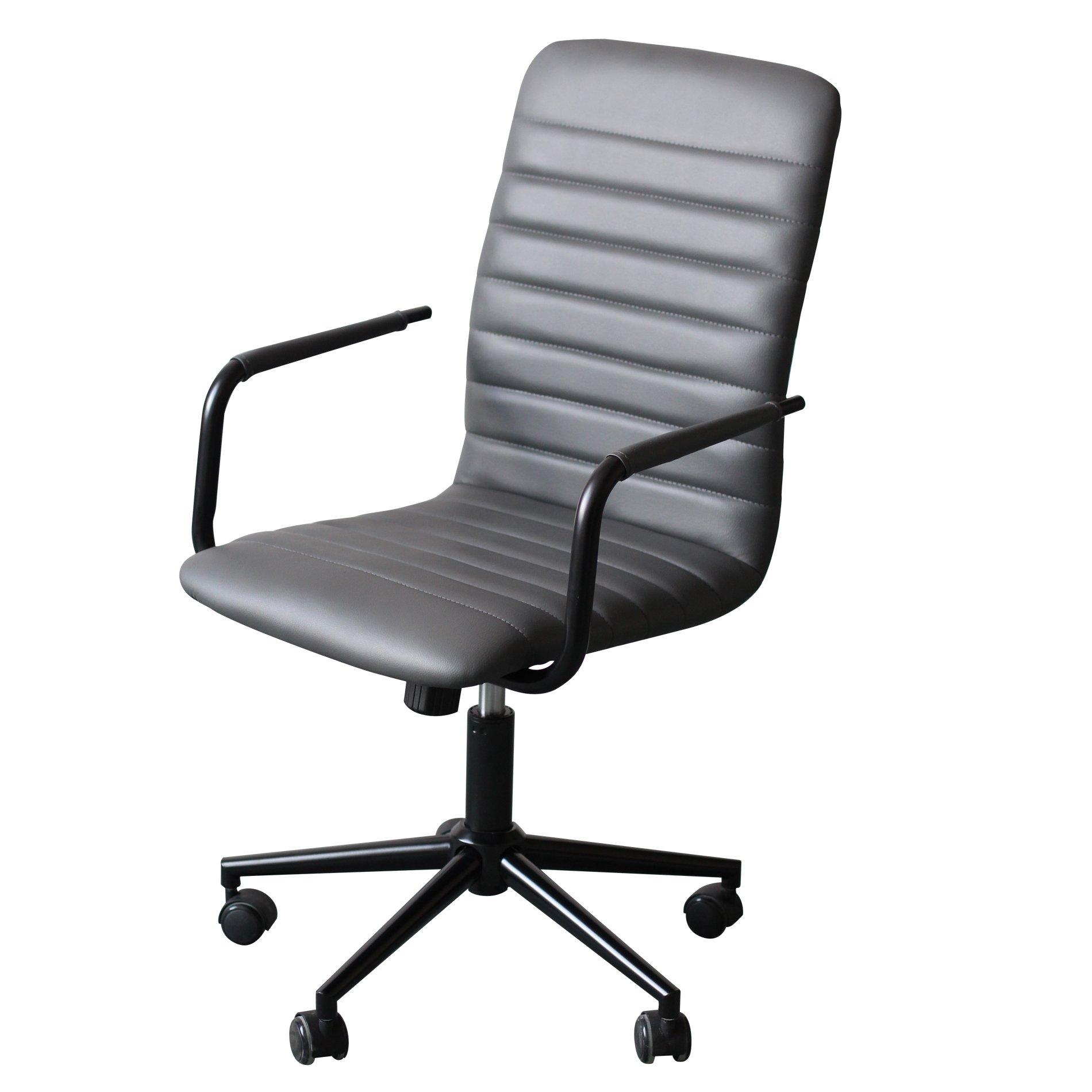 IDS Office Selection Home Office Desk Chair Modern Stripe Design with Solid Wheel Casters, Grey Leather