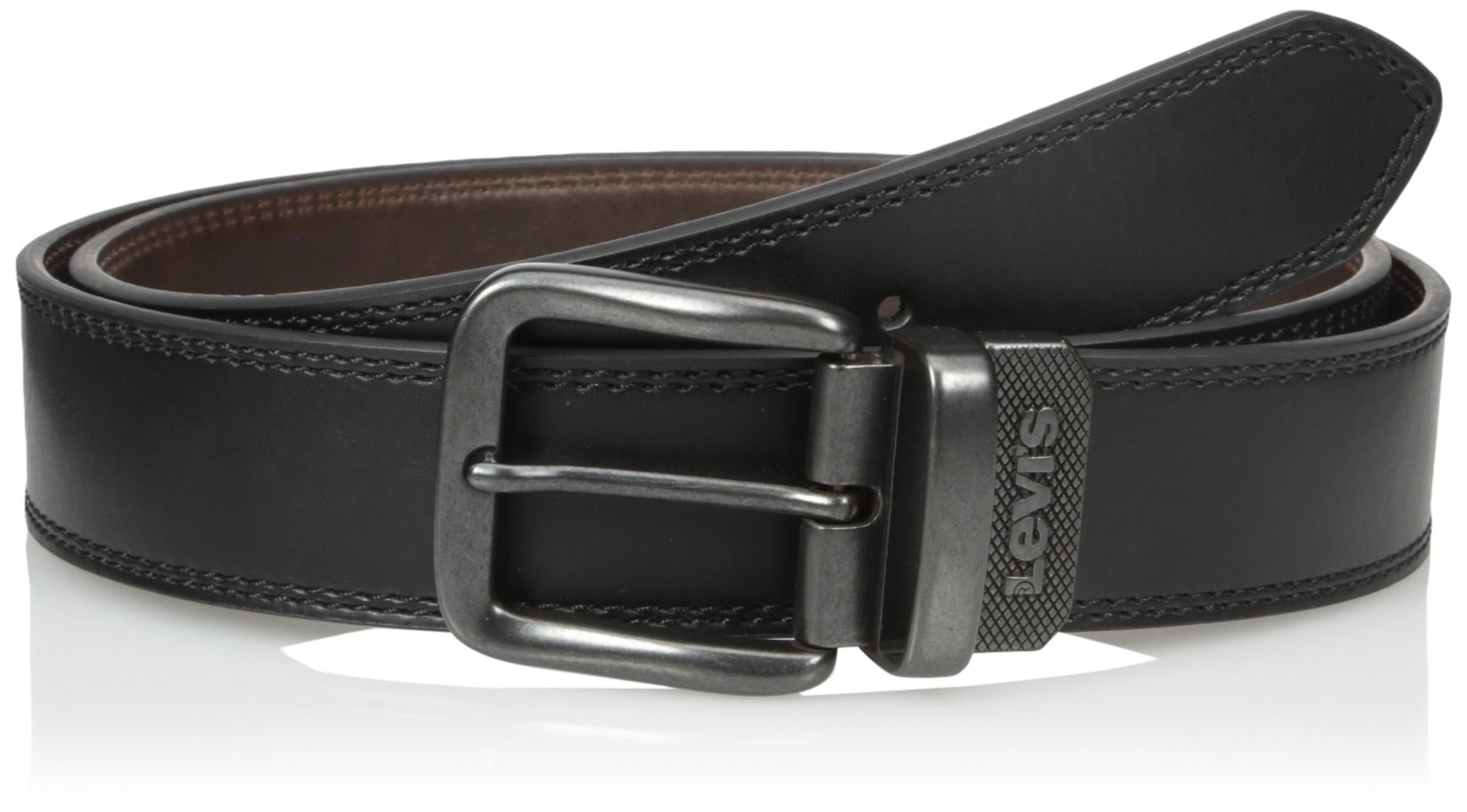 Levi's Men's Big-Tall 1 9/16 Inch Reversible Belt with Gunmetal Buckle