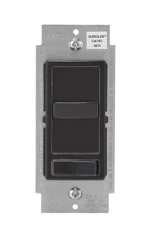 Leviton 6674-P0E SureSlide Universal 150-Watt LED and CFL/600-Watt Incandescent Dimmer, Black